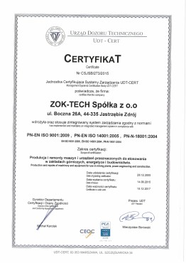 ZOK-TECH Certyfikat 273 UDT