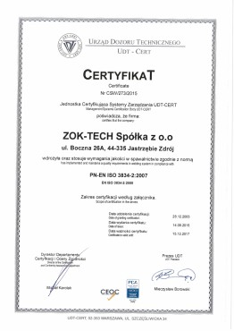 ZOK-TECH Certyfikat 38834 UDT