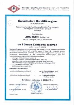 ZOK-TECH Certyfikat Spawalnictwo
